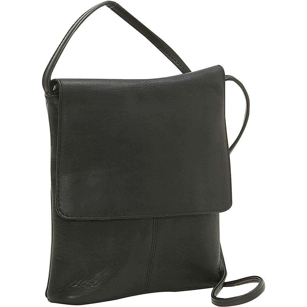 Le Donne Leather Flap Over Mini - Black - Handbags, Leather Handbags