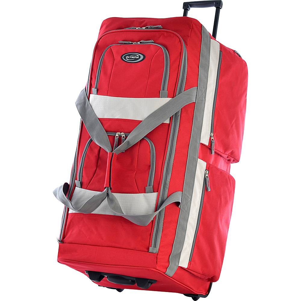 Olympia Eight Pocket 33 Rolling Duffel - Red - Luggage, Rolling Duffels