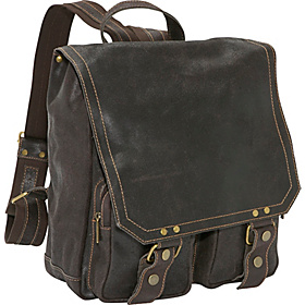 Distressed Leather Laptop Backpack Chocolate