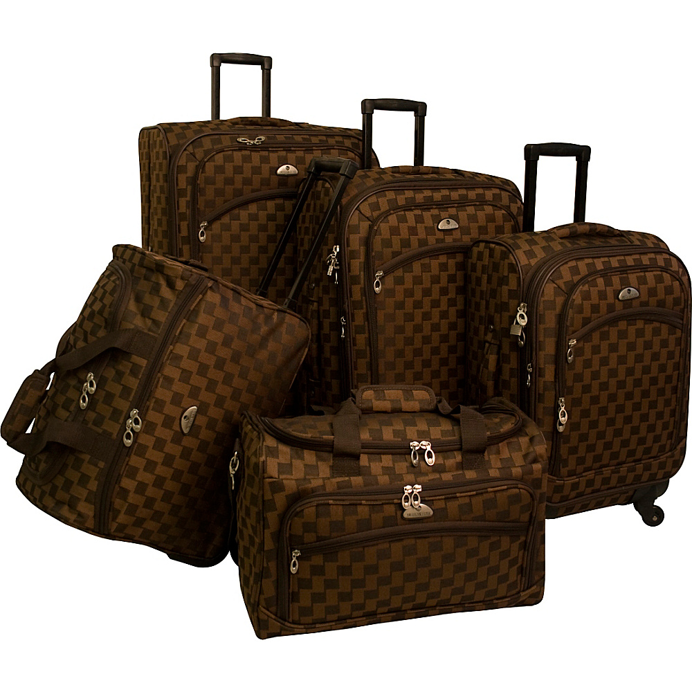 American Flyer Madrid 5 Piece Spinner Luggage Set Brown American Flyer Luggage Sets