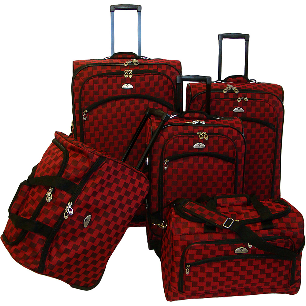 American Flyer Madrid 5 Piece Spinner Luggage Set - Red