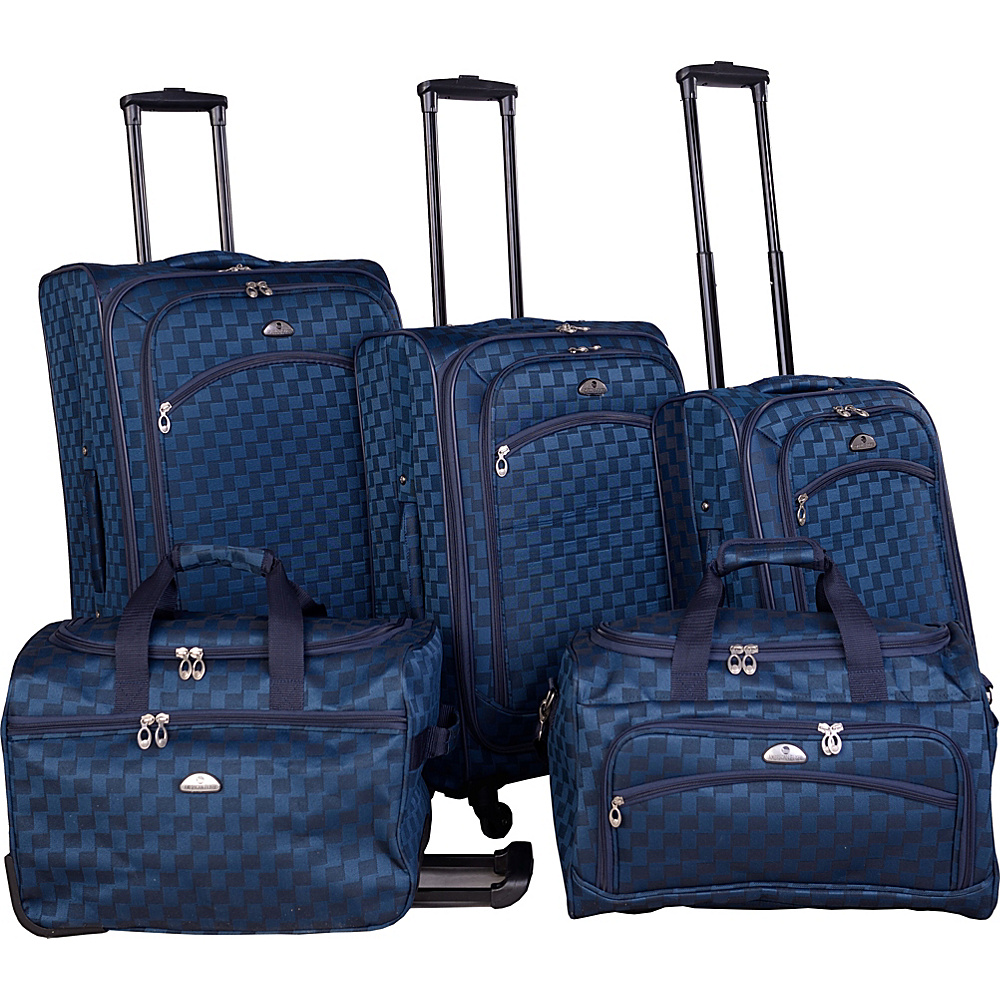 American Flyer Madrid 5 Piece Spinner Luggage Set Black Blue - American Flyer Luggage Sets