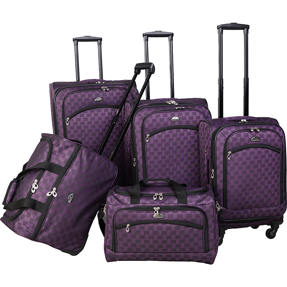 American Flyer Madrid 5 Piece Spinner Luggage Set Black Purple American Flyer Luggage Sets
