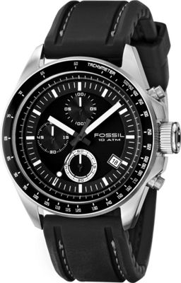 Fossil Decker - Men's Black PU Chrono Watch Black - Fossil Watches