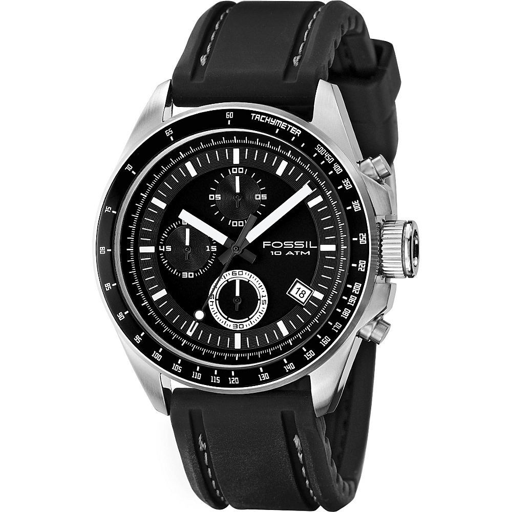 Fossil Decker - Men's Black PU Chrono Watch Black - Fossil Watches