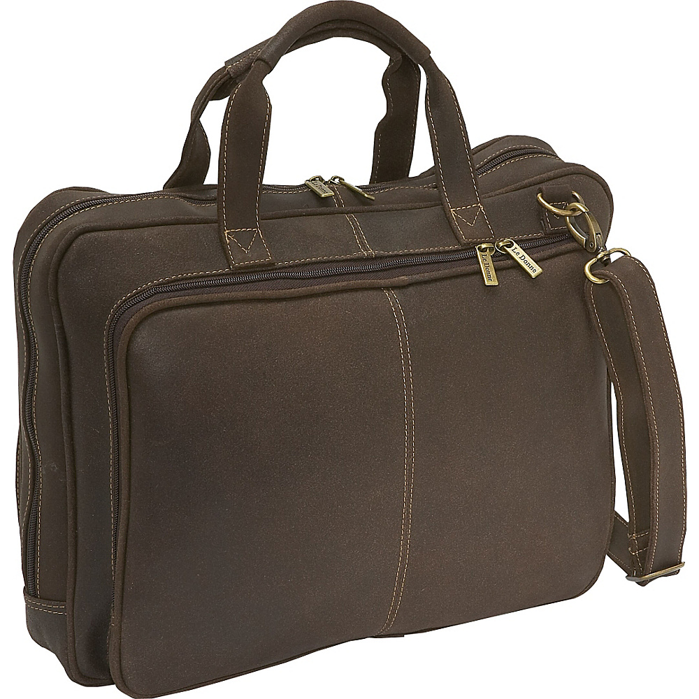 Le Donne Leather Distressed Leather  Computer Brief Chocolate - Le Donne Leather Non-Wheeled Business Cases - Work Bags & Briefcases, Non-Wheeled Business Cases