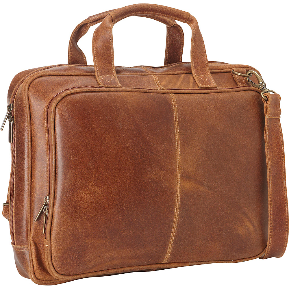 Le Donne Leather Distressed Leather  Computer Brief Tan - Le Donne Leather Non-Wheeled Business Cases - Work Bags & Briefcases, Non-Wheeled Business Cases
