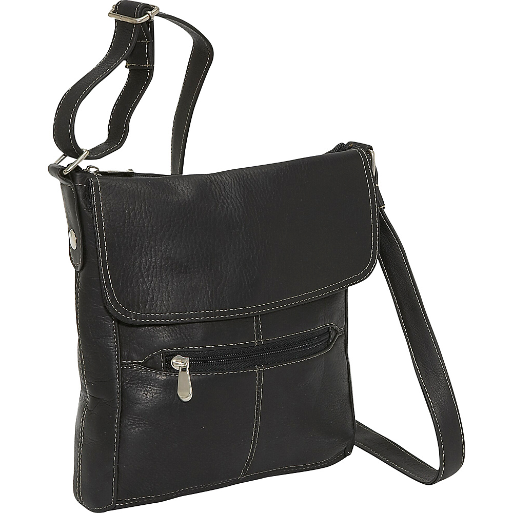 Le Donne Leather Front Flap Crossbody Black Le Donne Leather Leather Handbags