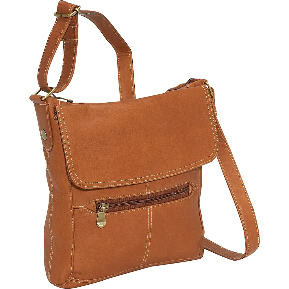 Le Donne Leather Front Flap Crossbody - Tan - Handbags, Leather Handbags