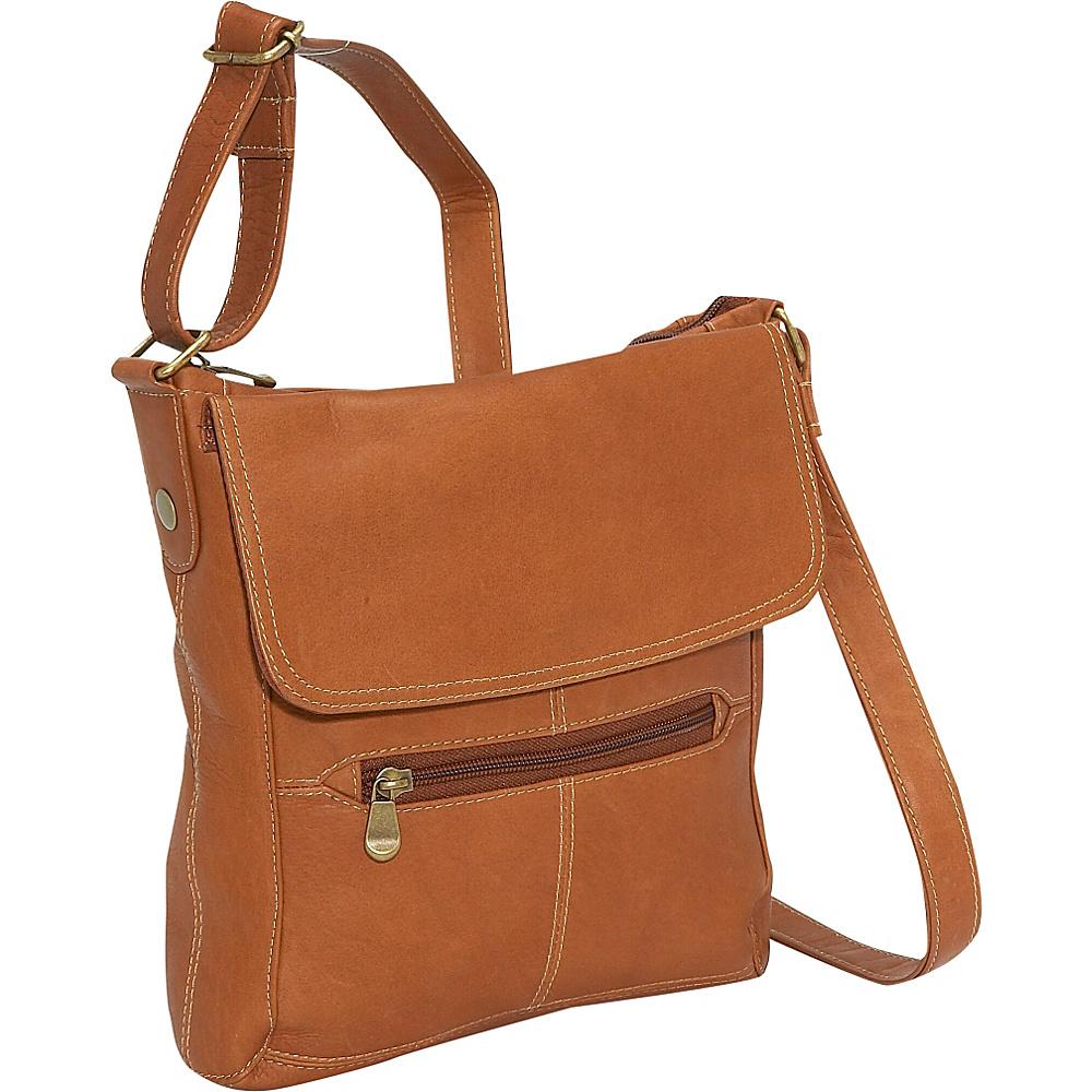 Le Donne Leather Front Flap Crossbody - Tan - Handbags, Leather Handbags