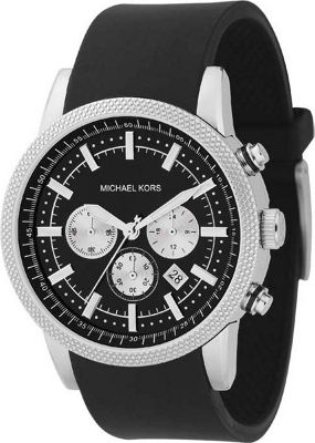 Michael Kors Watches Men's Black PU Chronograph - Black