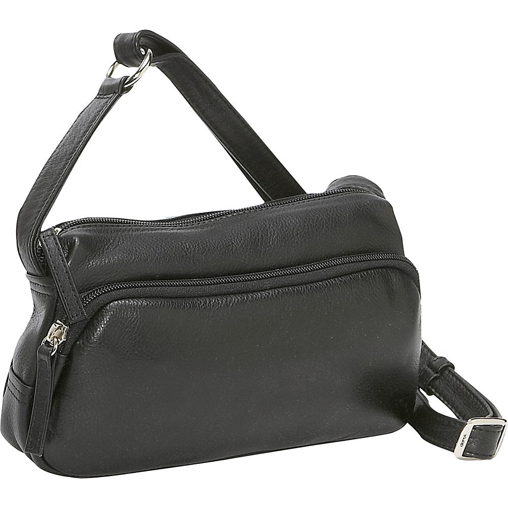 Derek Alexander Small Twin Top Zip Handbag - Black - Handbags, Leather Handbags