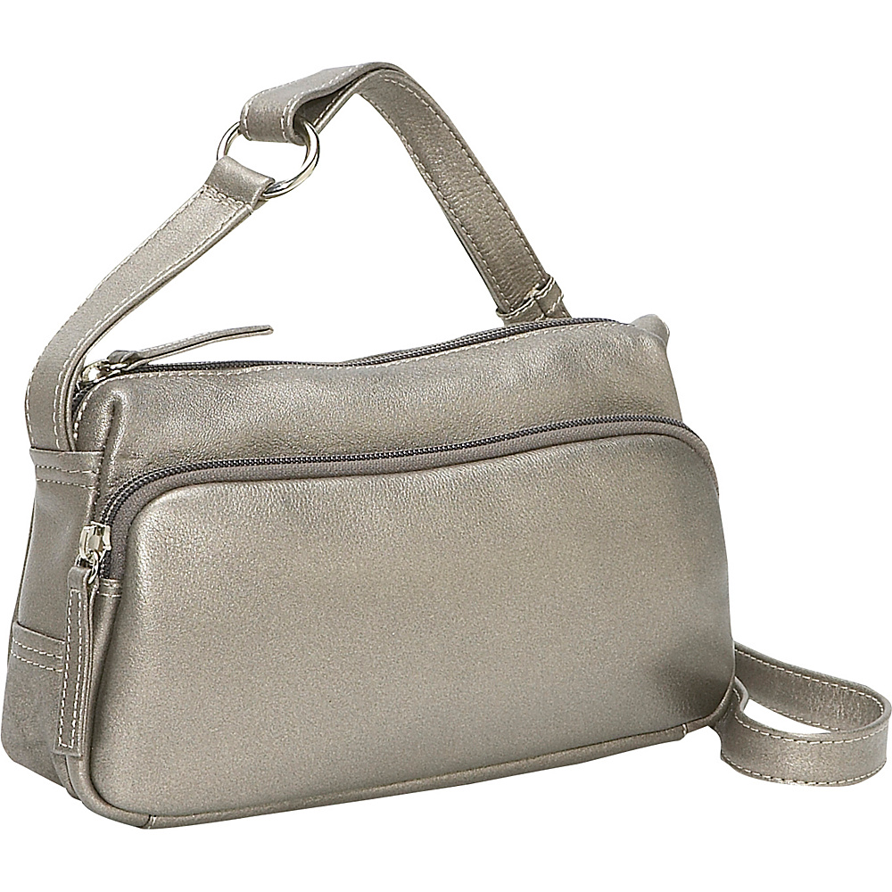 Derek Alexander Small Twin Top Zip Handbag Silver