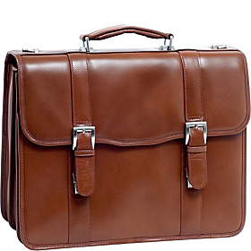 V Series Flournoy Leather Double Compartment Laptop Case Brown