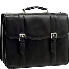 V Series Flournoy Leather Double Compartment Laptop Case Black