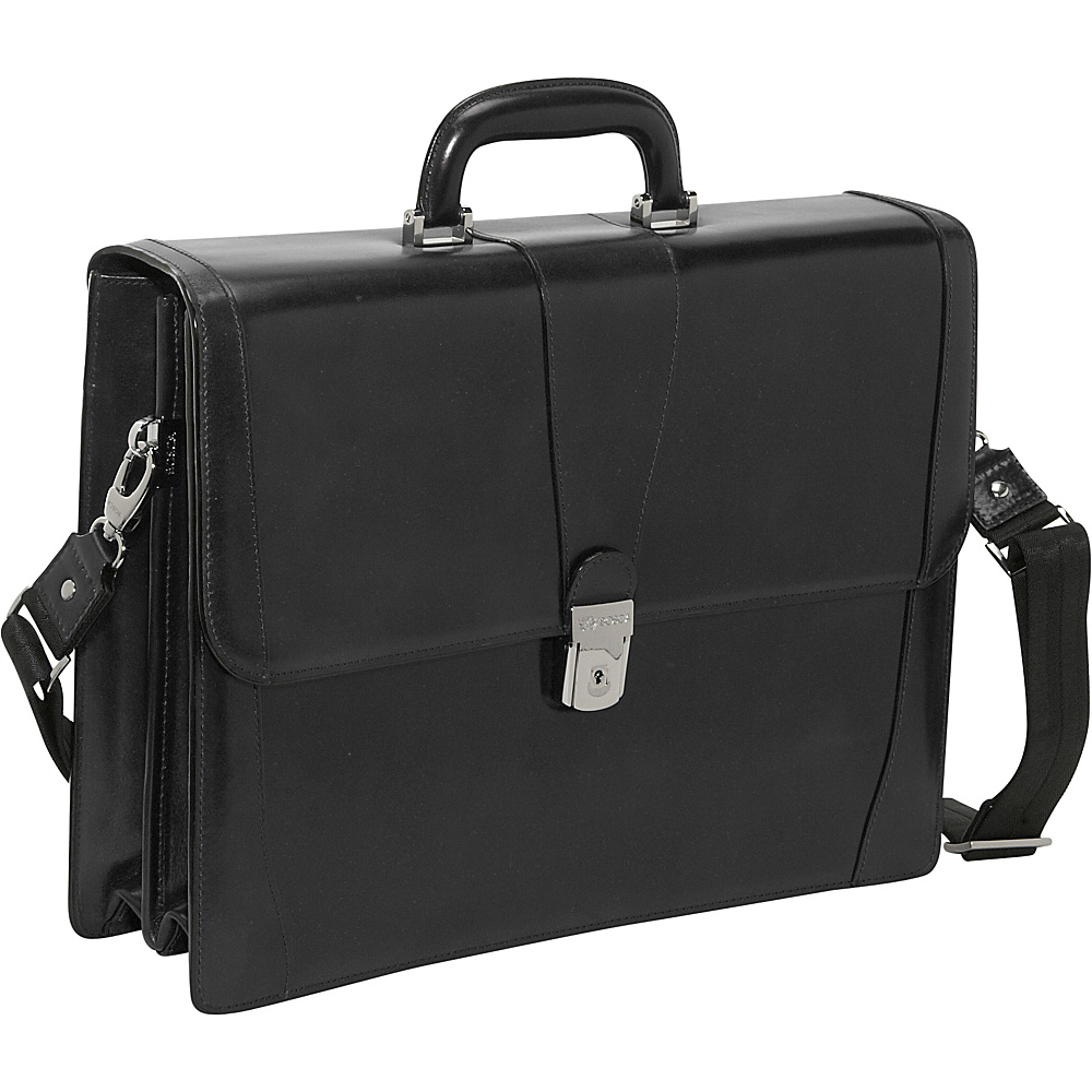 Bosca Double Gusset Brief - Black - Work Bags & Briefcases, Non-Wheeled Business Cases