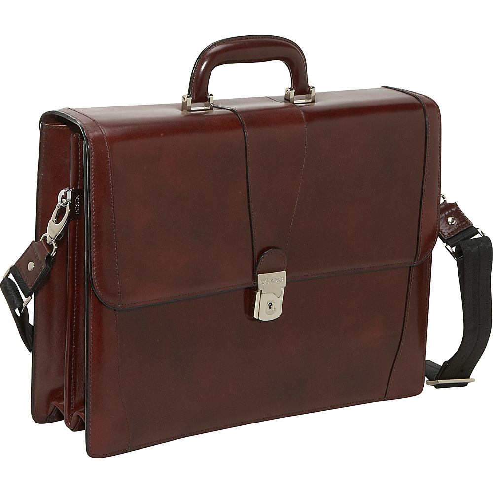 Bosca Double Gusset Brief - Dark Brown - Work Bags & Briefcases, Non-Wheeled Business Cases