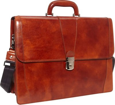 Bosca Old Leather Double Gusset Brief Amber - Bosca Non-Wheeled Business Cases