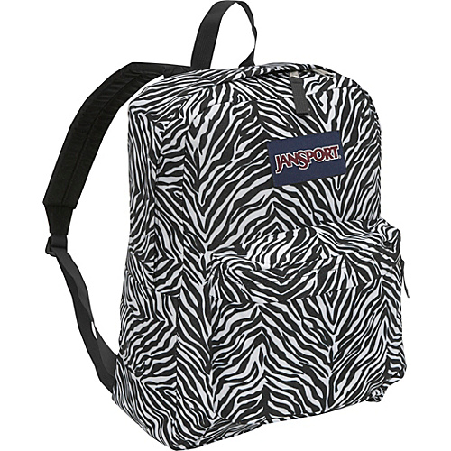 JanSport SuperBreak Backpack White/Black Cosmo Zebra/Primal Purple