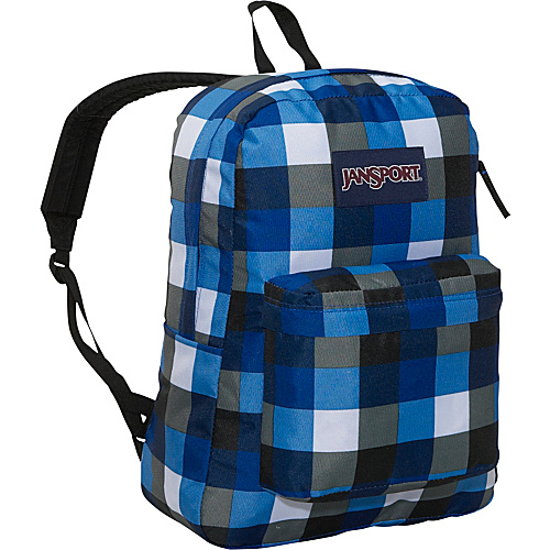 JanSport SuperBreak Blue Streak Block Check - Backpacks, School & Day Hiking Backpacks