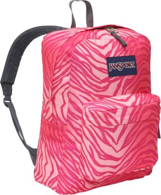 JanSport SuperBreak Pink Prep/Coral Sparkle Flashback Zebra