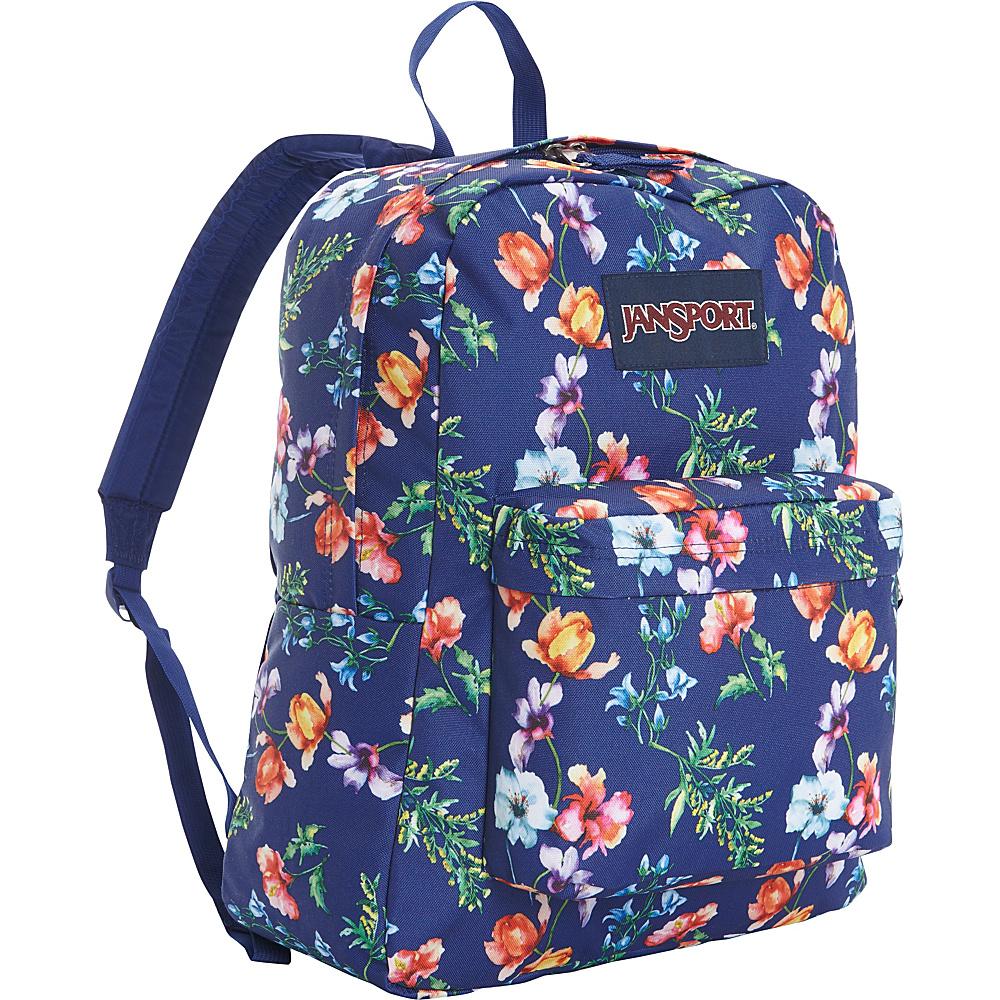 JanSport SuperBreak Backpack Multi Navy Mountain Meadow - JanSport School & Day Hiking Backpacks - Backpacks, School & Day Hiking Backpacks
