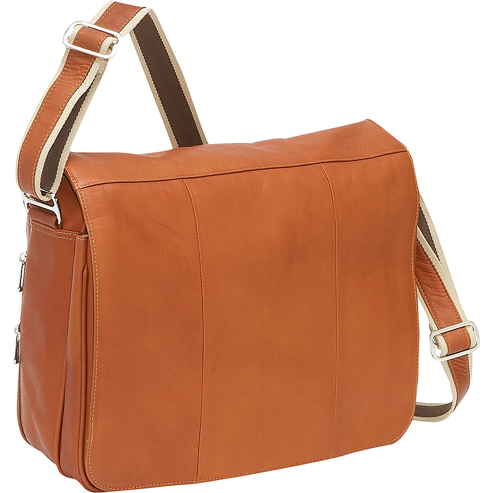 Piel Expandable Laptop Messenger Bag - Saddle - Work Bags & Briefcases, Messenger Bags