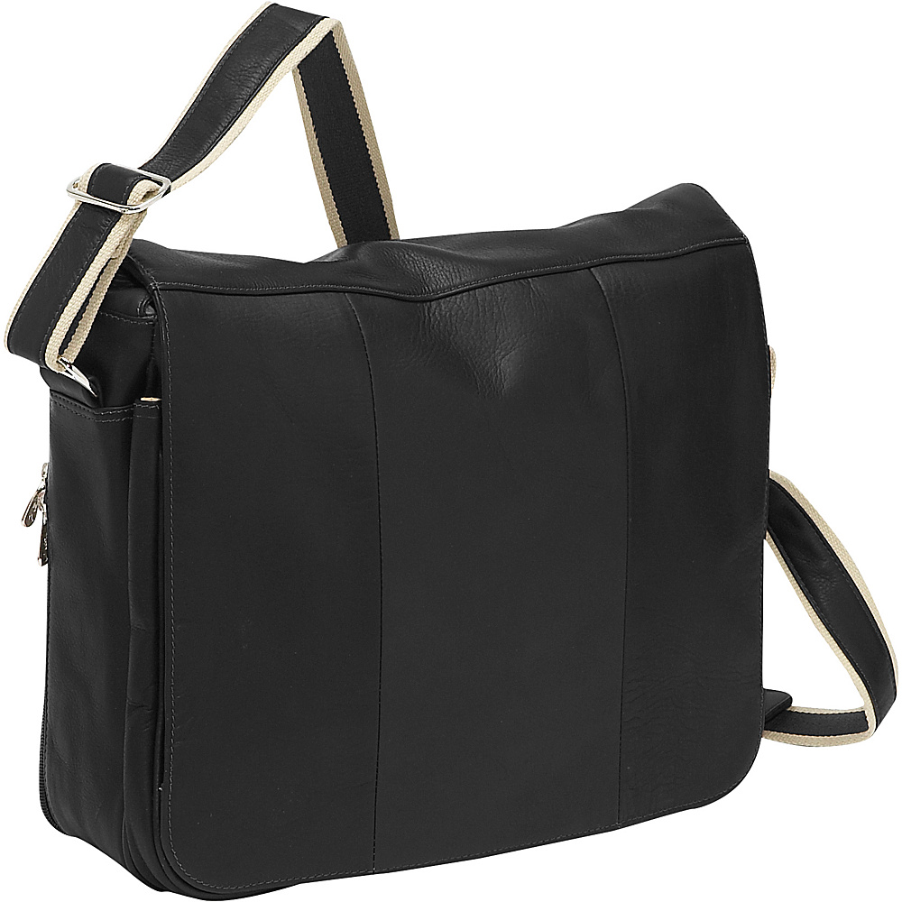 Piel Expandable Laptop Messenger Bag - Black - Work Bags & Briefcases, Messenger Bags