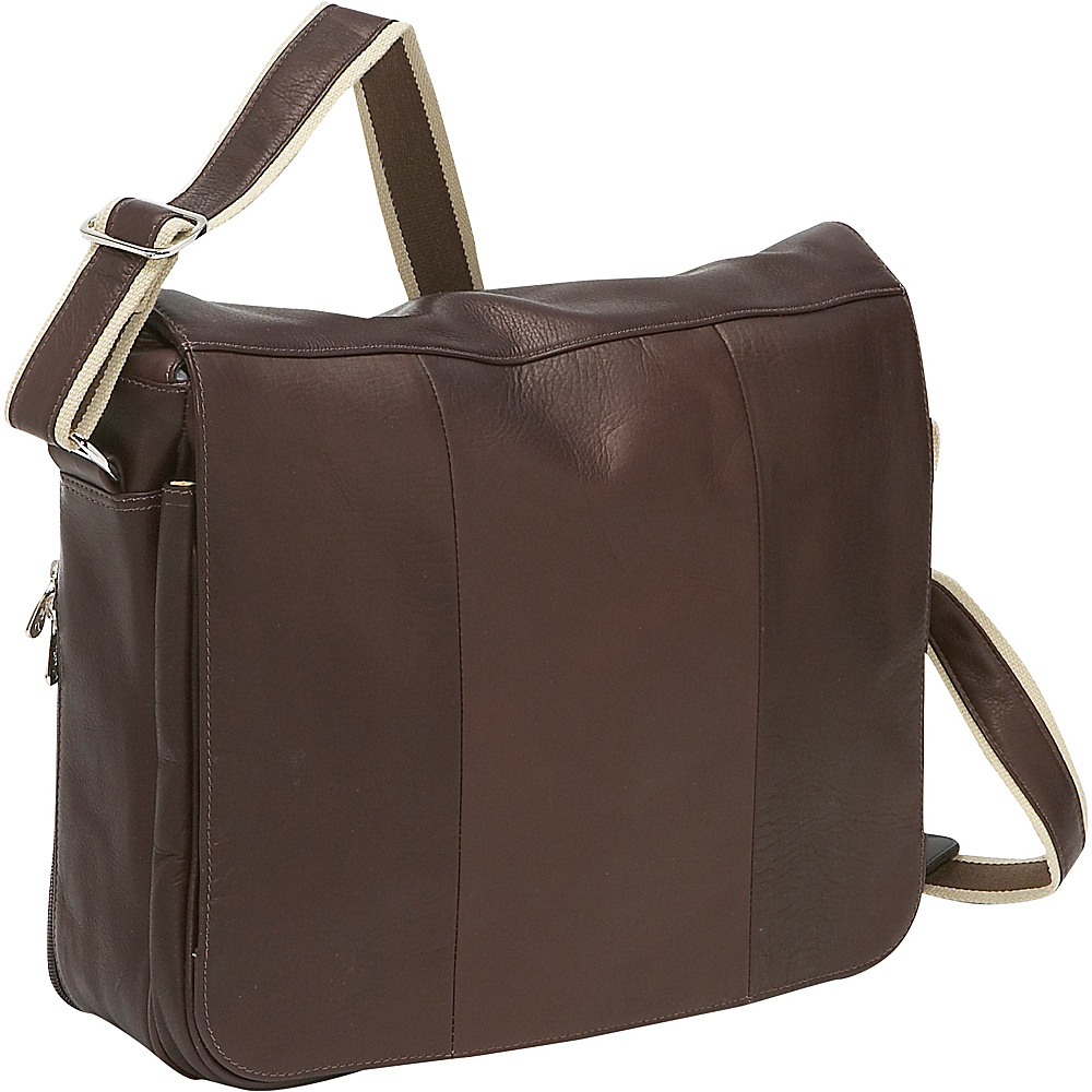 Piel Expandable Laptop Messenger Bag - Chocolate - Work Bags & Briefcases, Messenger Bags