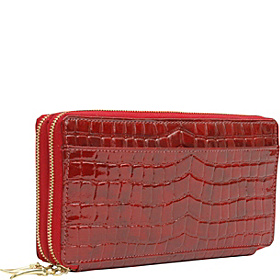 Antique Croco Double Zip Clutch Wallet Pomegranate