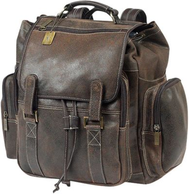 ClaireChase Jumbo Laptop Bak-Pack Distressed Brown - ClaireChase Business & Laptop Backpacks
