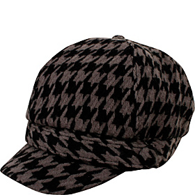 Soft Acryilc Houndstooth Cabbie Grey/Black