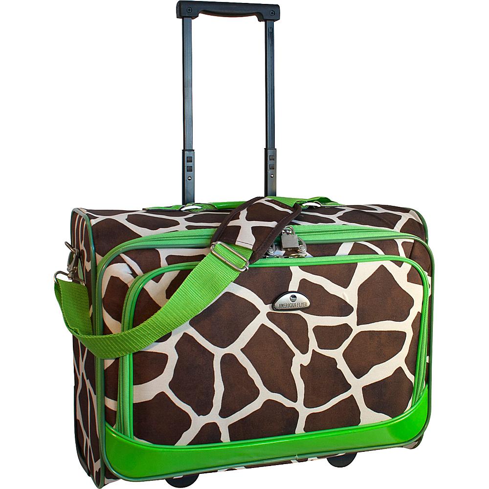 American Flyer Animal Print Underseater Giraffe Green - American Flyer Softside Carry-On
