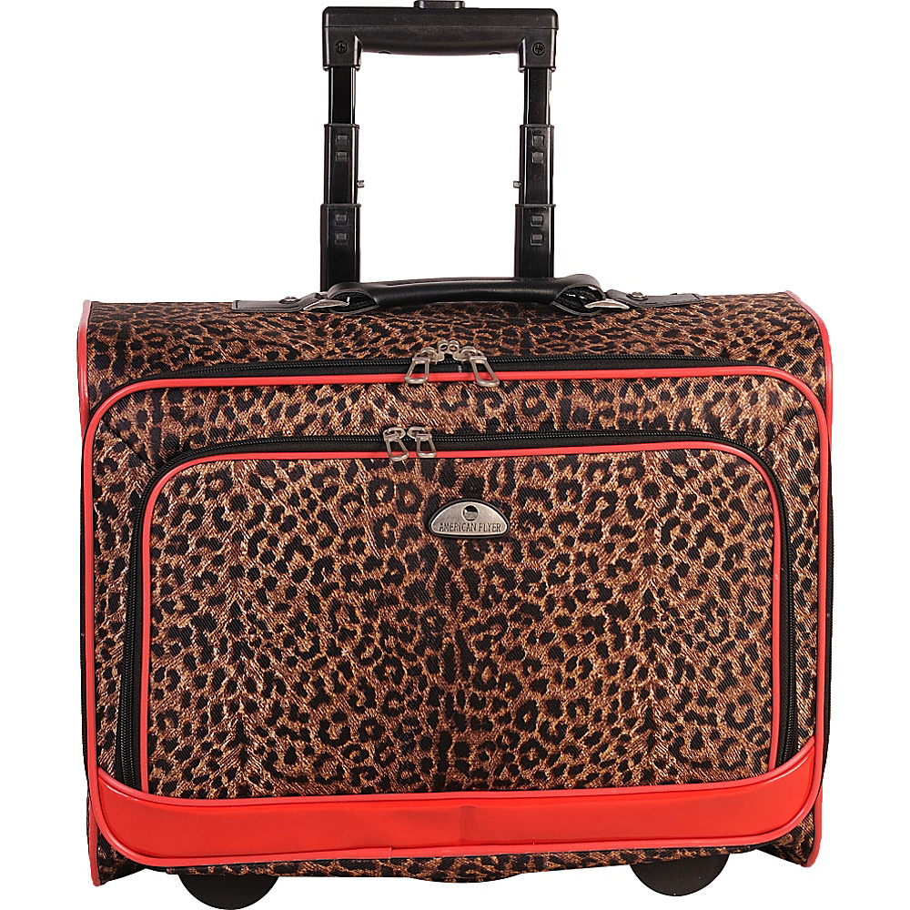American Flyer Animal Print Underseater Leopard Red American Flyer Softside Carry On