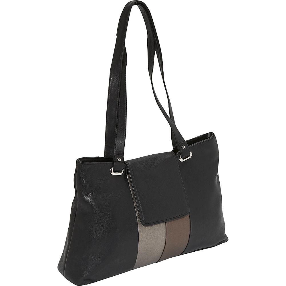 Derek Alexander Metallic Trim Shoulder Bag - Metallic - Handbags, Leather Handbags