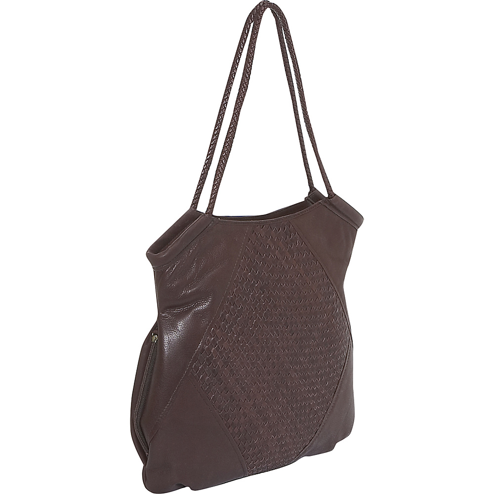 Derek Alexander Inset Top Zip - Brown - Handbags, Leather Handbags