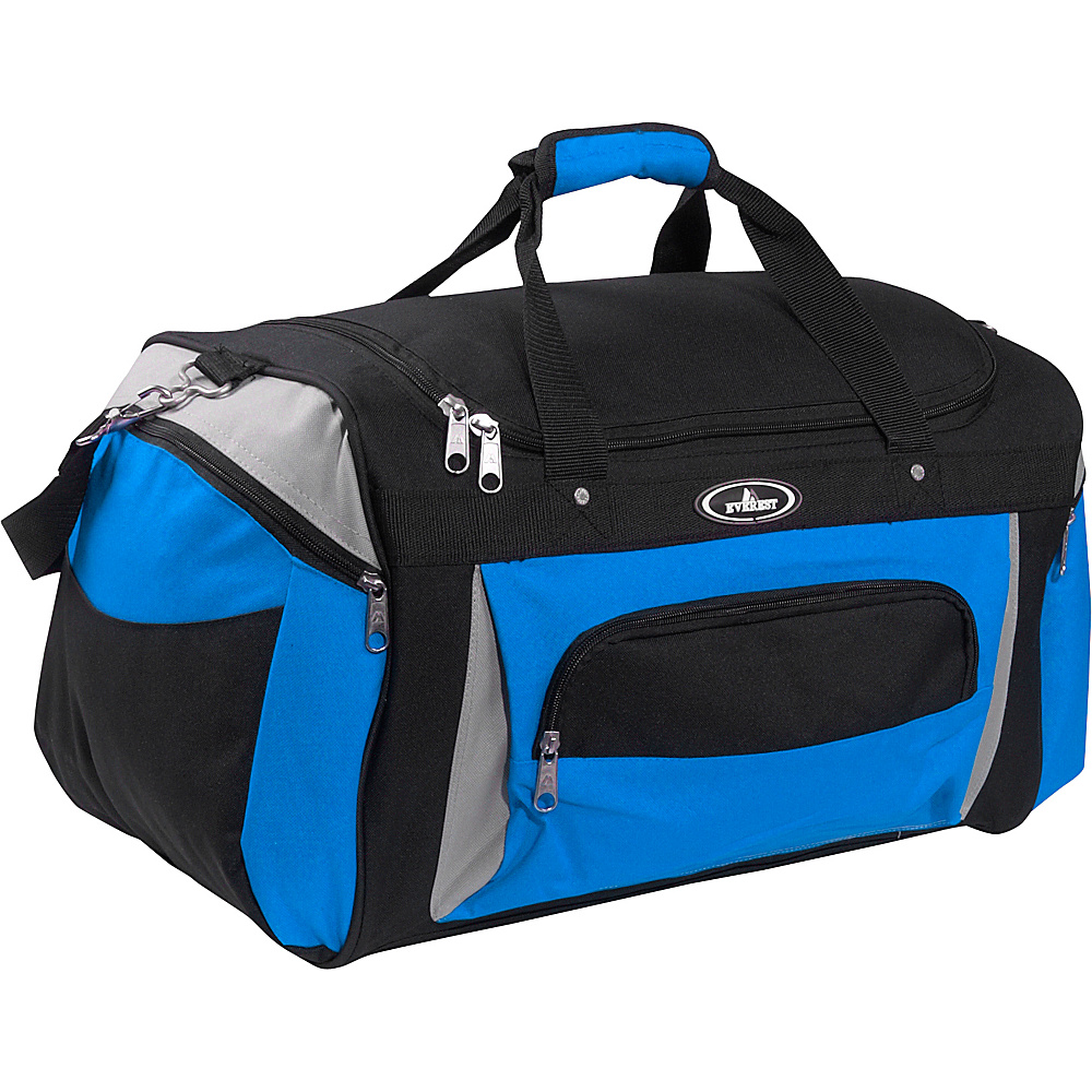 "Everest 24"" Deluxe Sports Duffel Bag Royal Blue/Gray/Black - Everest Travel Duffels"
