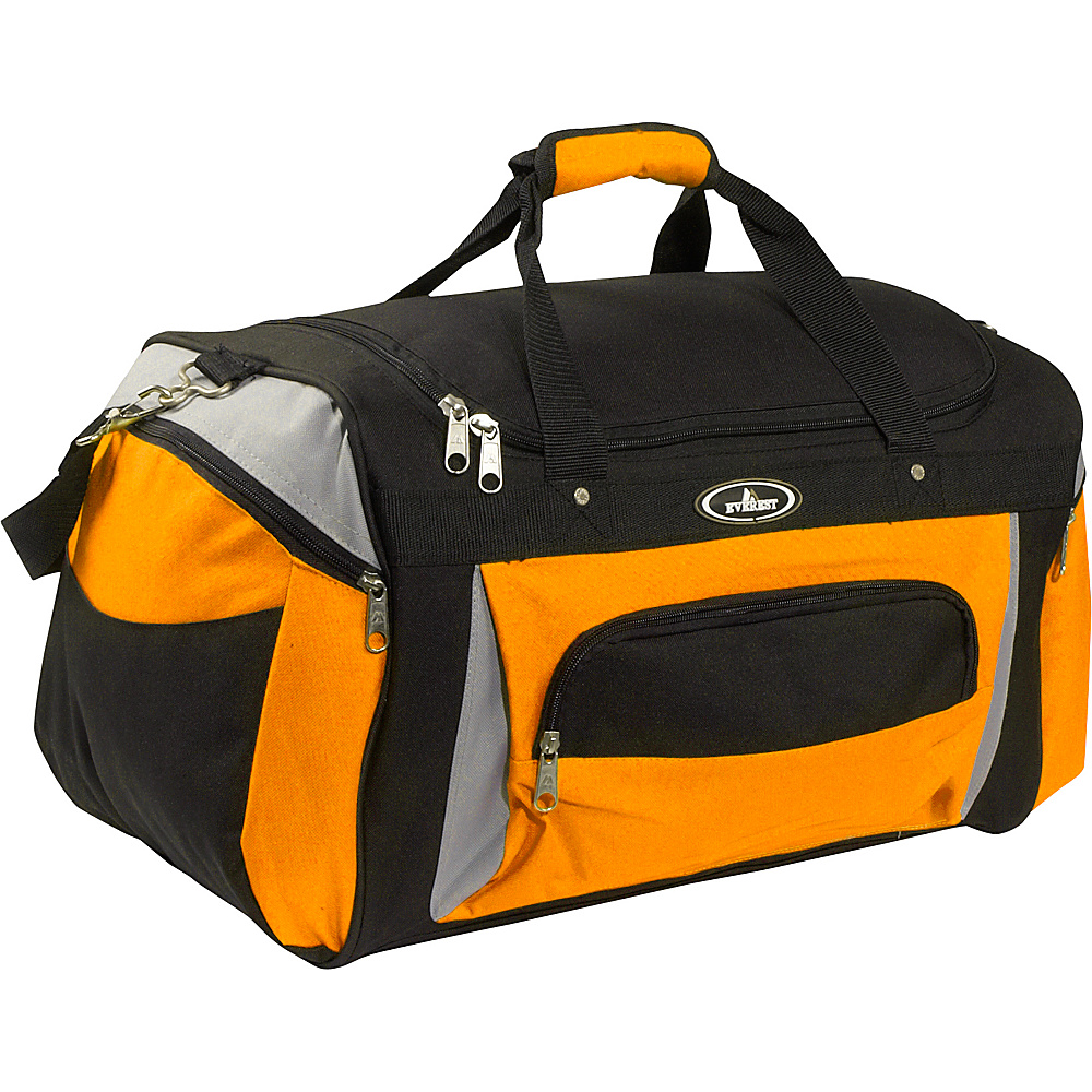 "Everest 24"" Deluxe Sports Duffel Bag Orange/Gray/Black - Everest Travel Duffels"