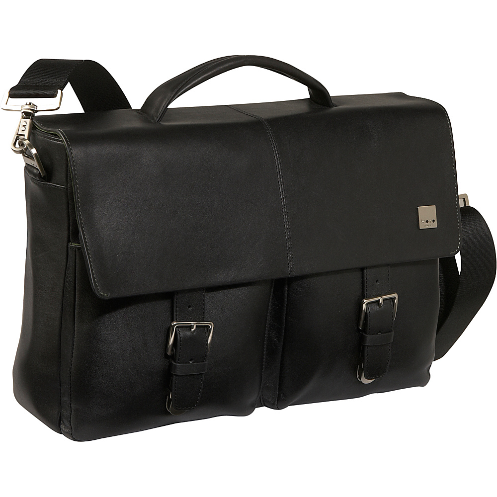Knomo Jackson 15 Leather Laptop Brief - Black - Work Bags & Briefcases, Non-Wheeled Business Cases