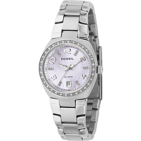 Fossil Ladies 3-Hand Stainless Steel Pink MOP Dial Glitz Watch Silver