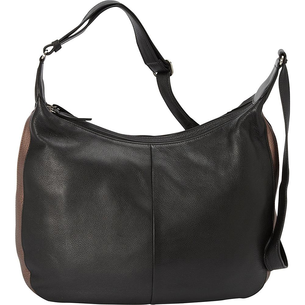 Derek Alexander Large double zip hobo - Black/Bronze - Handbags, Leather Handbags