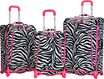 Rockland Luggage 3 Piece Monte Carlo Spinner Luggage Set Pink Zebra - Rockland Luggage Luggage Sets