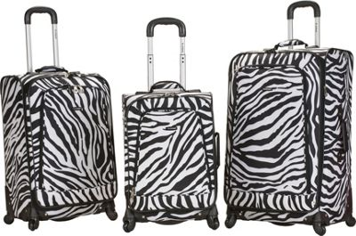 Rockland Luggage 3 Piece Monte Carlo Spinner Luggage Set Zebra - Rockland Luggage Luggage Sets