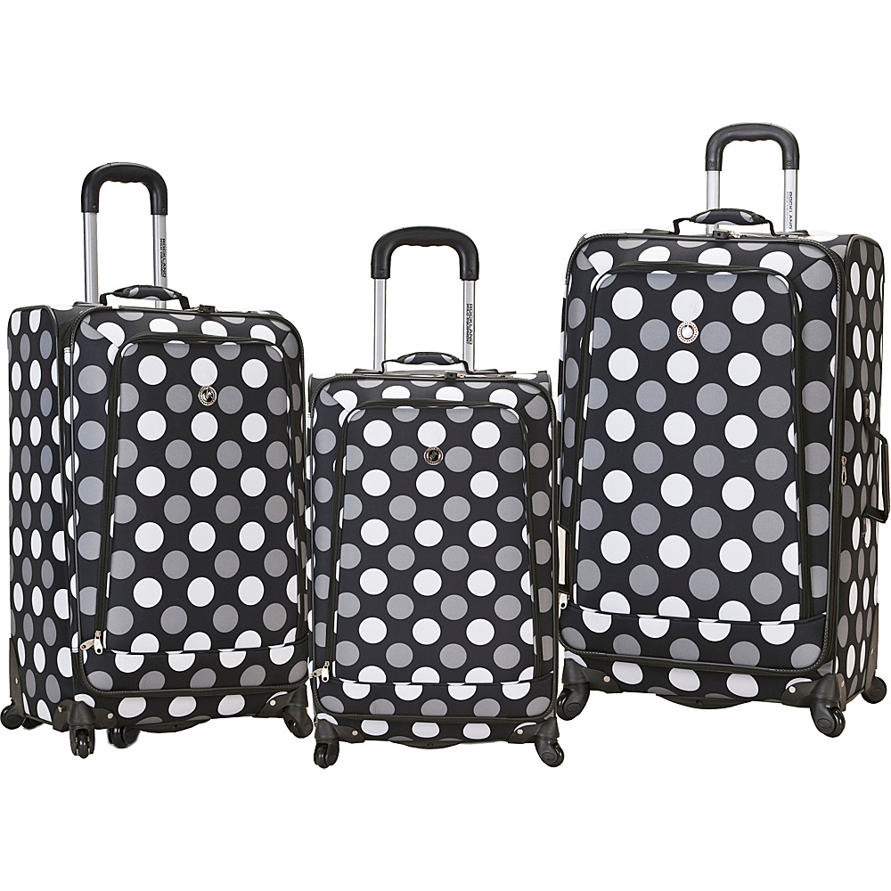 Rockland Luggage 3 Piece Monte Carlo Spinner Luggage Set Black Dot - Rockland Luggage Luggage Sets - Luggage, Luggage Sets