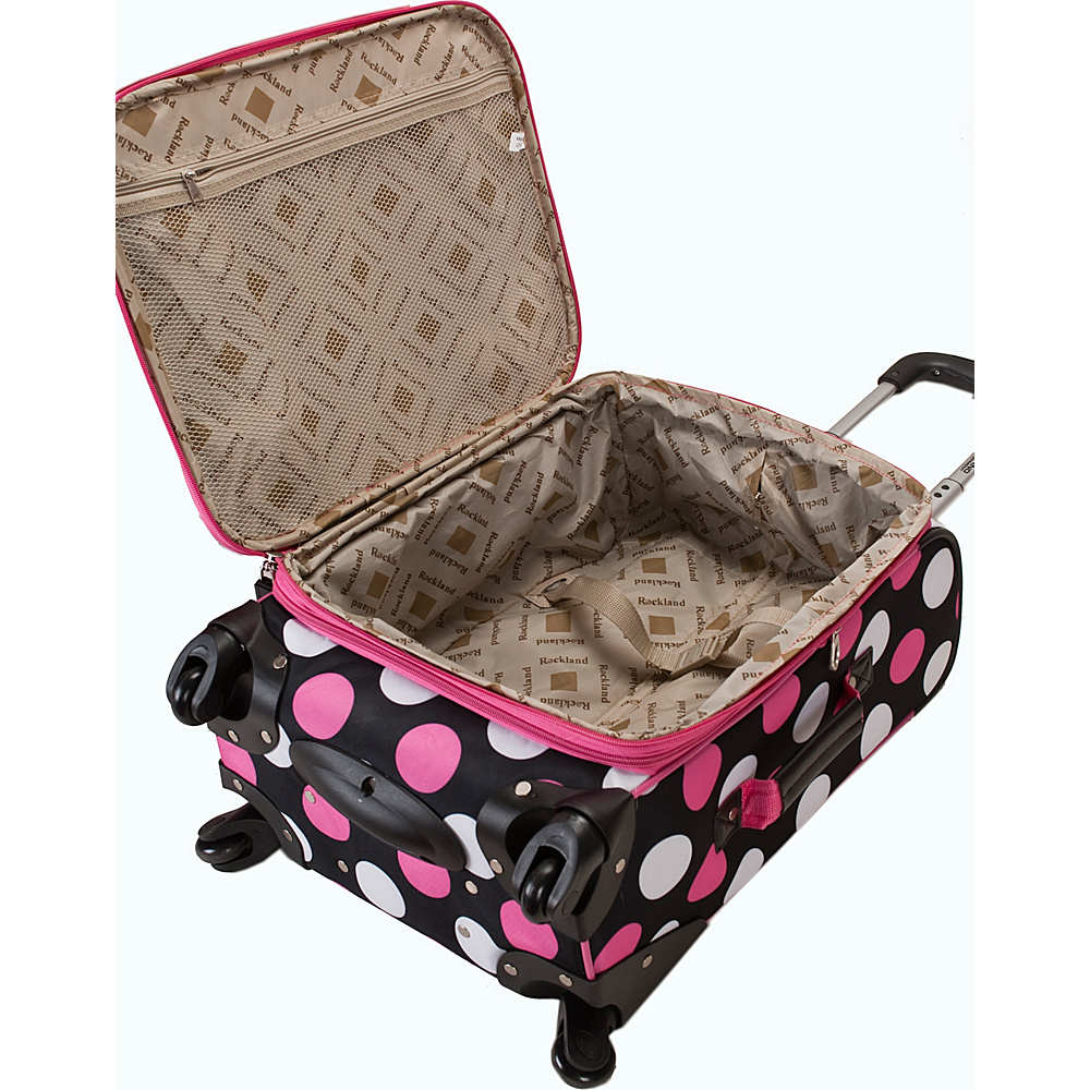 Rockland Luggage 3 Piece Monte Carlo Spinner Luggage Set Black Dot - Rockland Luggage Luggage Sets