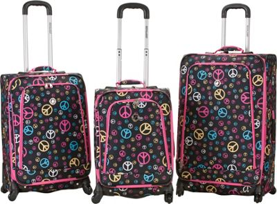 Rockland Luggage 3 Piece Monte Carlo Spinner Luggage Set Peace - Rockland Luggage Luggage Sets