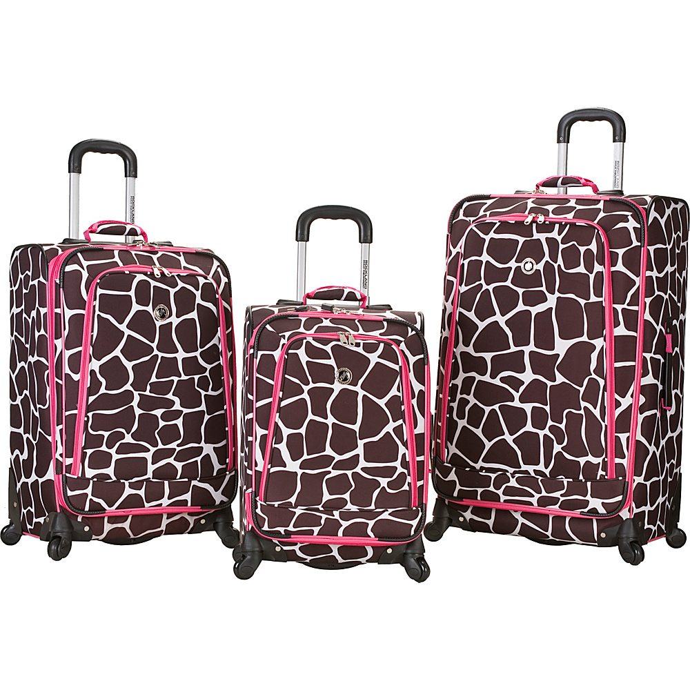 Rockland Luggage 3 Piece Monte Carlo Spinner Luggage Set Pink Giraffe - Rockland Luggage Luggage Sets