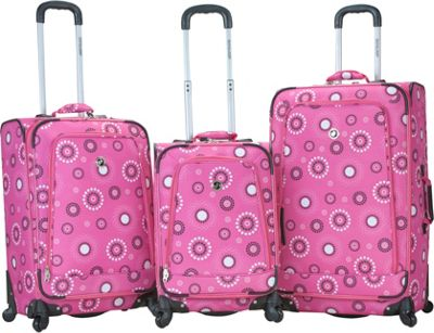 Rockland Luggage 3 Piece Monte Carlo Spinner Luggage Set Pink Pearl - Rockland Luggage Luggage Sets
