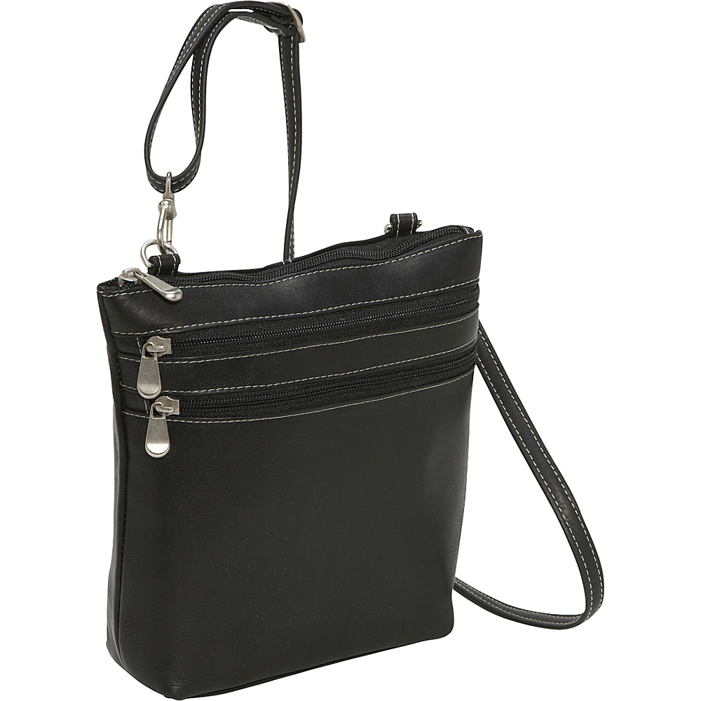 Le Donne Leather Cross Body Zip Bag Black - Le Donne Leather Leather Handbags - Handbags, Leather Handbags
