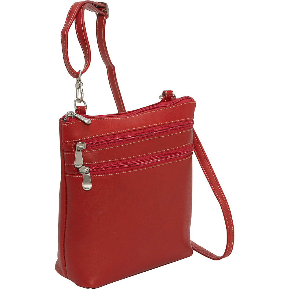 Le Donne Leather Cross Body Zip Bag - Red - Handbags, Leather Handbags